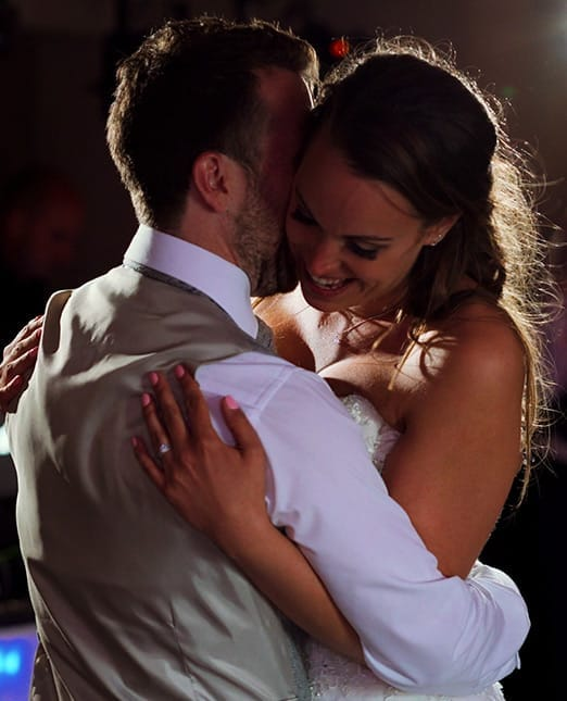 Bride and groom during first dance at the Ashes Barns in Staffordshire